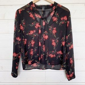 Forever 21 - Sheer Floral Tie Blouse